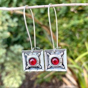 SUNDANCE sterling silver hook drop EARRINGS red